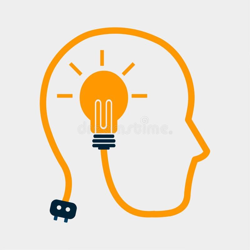 Mens die het nieuwe concept van de idee vectorillustratie denken vector illustratie