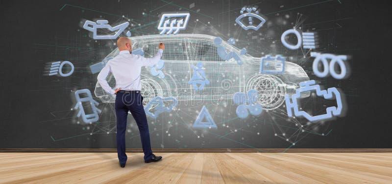 Mens die het smartcar concept 3d teruggeven houden royalty-vrije stock foto