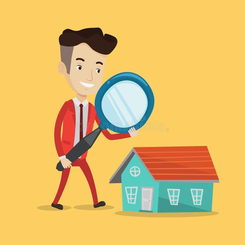 Mens die huis vectorillustratie zoeken royalty-vrije illustratie
