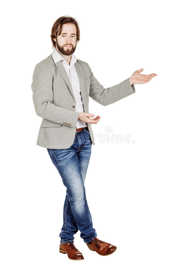 Mens die of iets uw tekst of product voorleggen tonen menselijk royalty-vrije stock fotografie