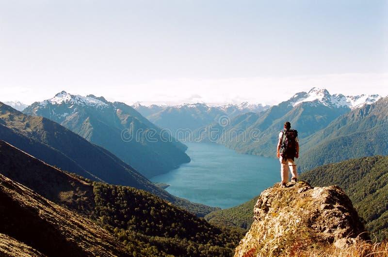 Mens die ijzige meer en bergen bekijkt royalty-vrije stock afbeeldingen