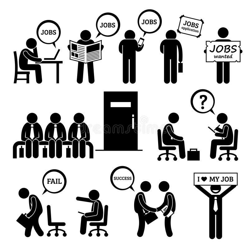 Mens die Job Employment en Gesprek Cliparts zoeken royalty-vrije illustratie