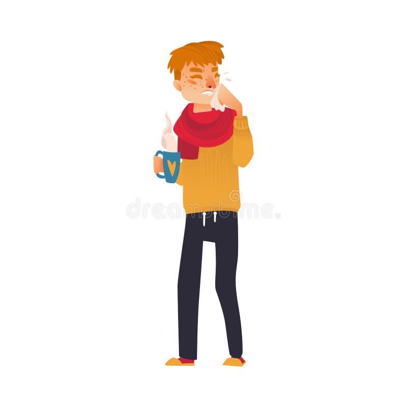 Mens die koude, griepsymptomen, lopende neus, koorts hebben royalty-vrije illustratie