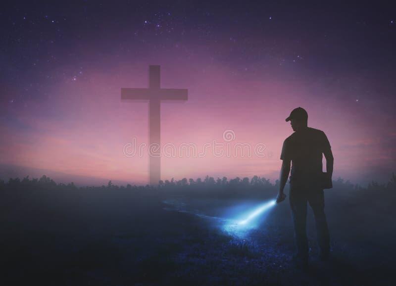 Mens die kruis zoeken stock fotografie