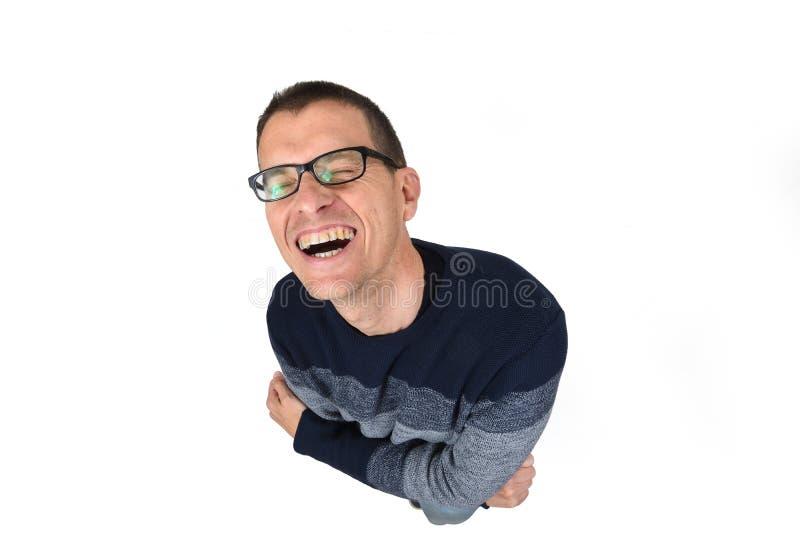 Mens die lacht stock fotografie