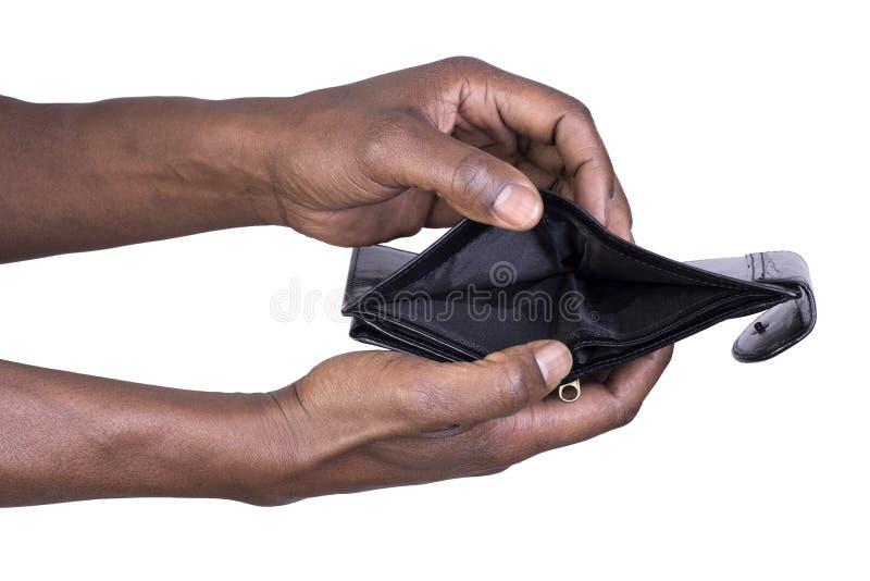 Mens die lege portefeuille houden stock afbeelding