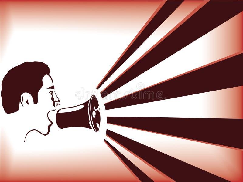 Mens die in megafoon spreekt vector illustratie