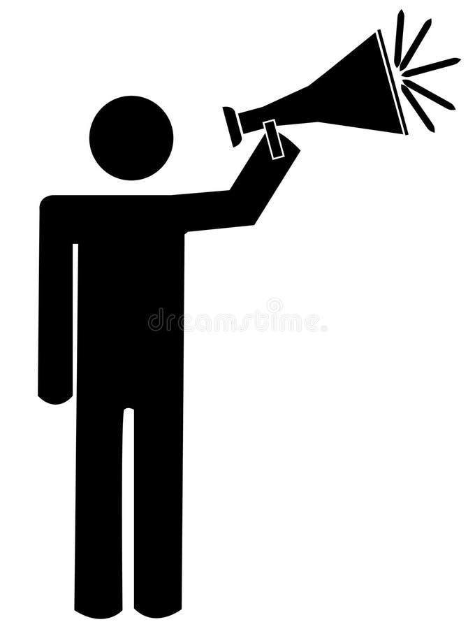 mens die in megafoon spreekt royalty-vrije illustratie