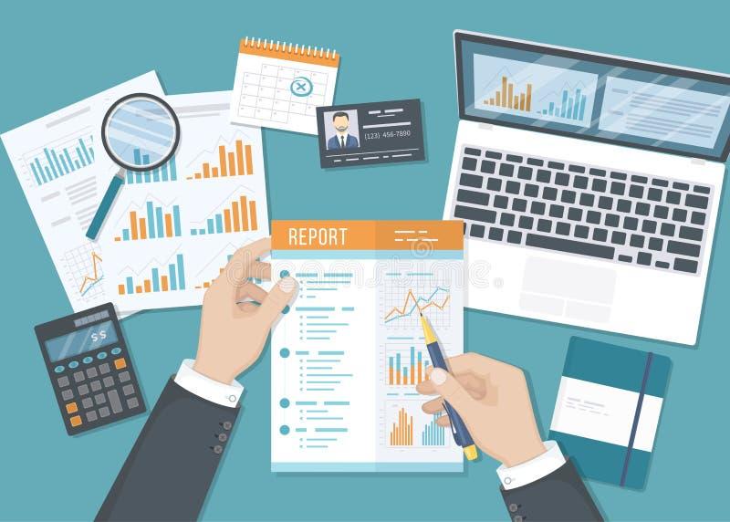 Mens die met een rapport werken Zakenmanhanden met document documenten, vormen, kalender, laptop, calculator royalty-vrije illustratie