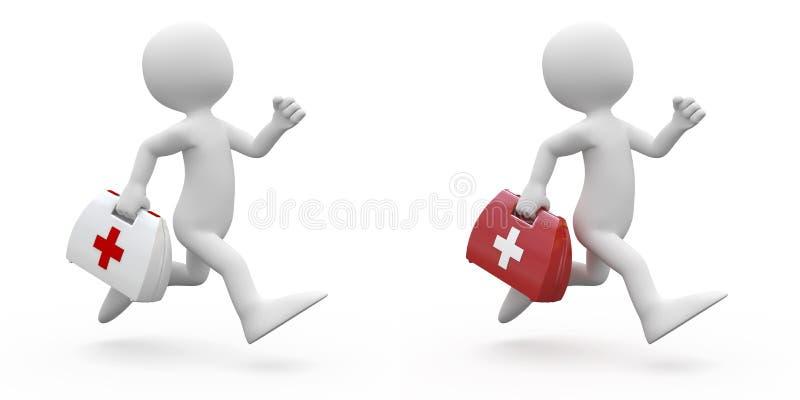Mens die met eerste hulpuitrusting loopt, in twee kleuren stock illustratie