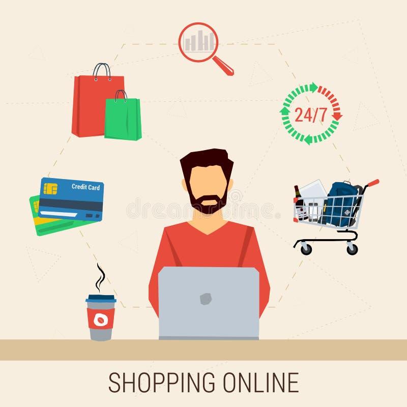 Mens die met laptop online winkelen vector illustratie