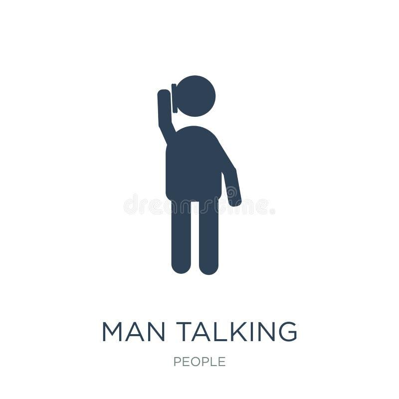 mens die met telefoonpictogram spreken in in ontwerpstijl mens die met telefoonpictogram spreken die op witte achtergrond wordt g royalty-vrije illustratie