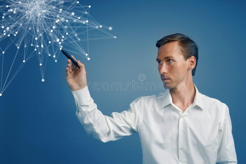 Mens die met verbonden punten werken Draadloos verbindingsconcept stock afbeelding