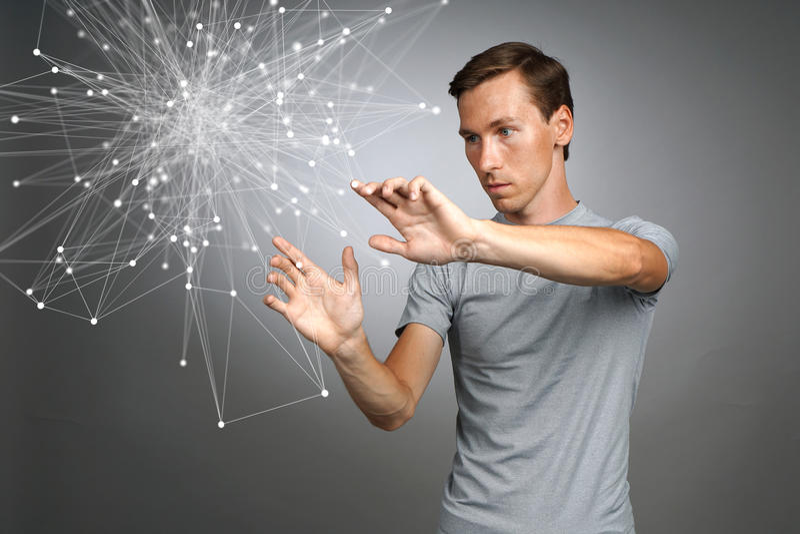 Mens die met verbonden punten werken Draadloos verbindingsconcept stock foto