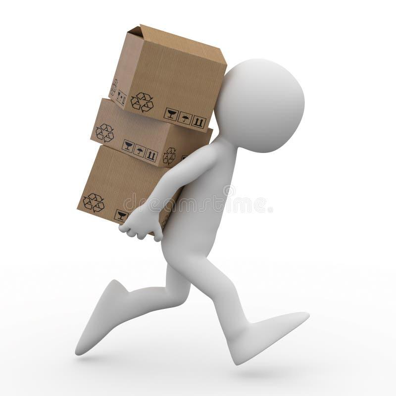 Mens die met verscheidene dozen in de rug loopt stock illustratie