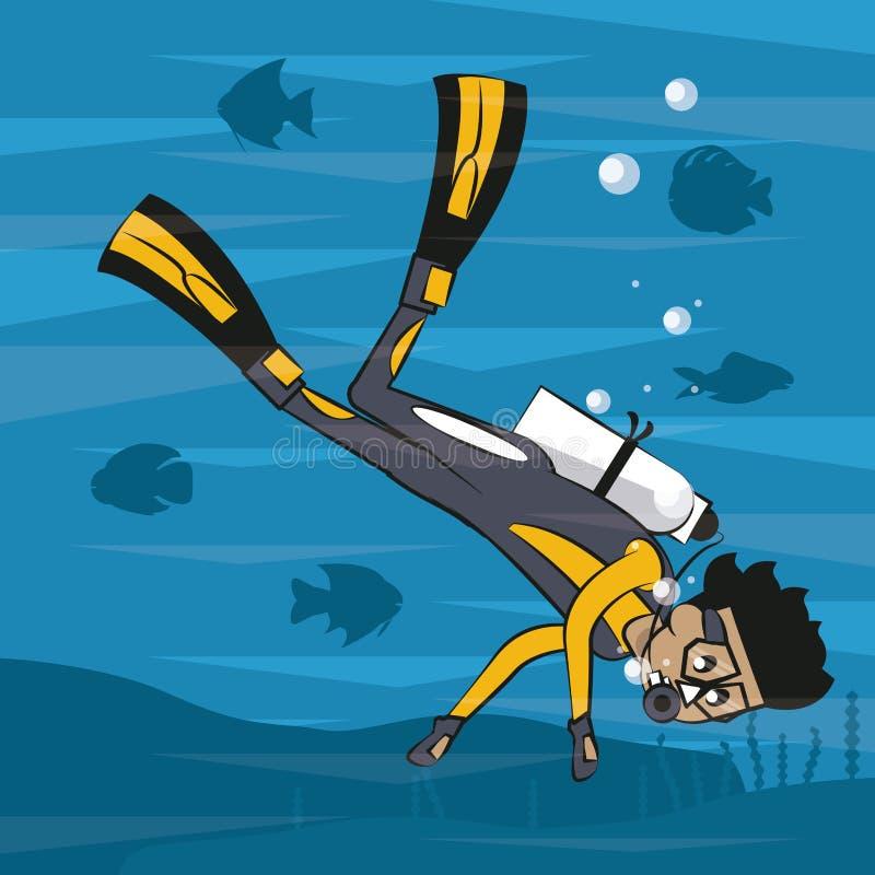 Mens die met vinnen duiken stock illustratie