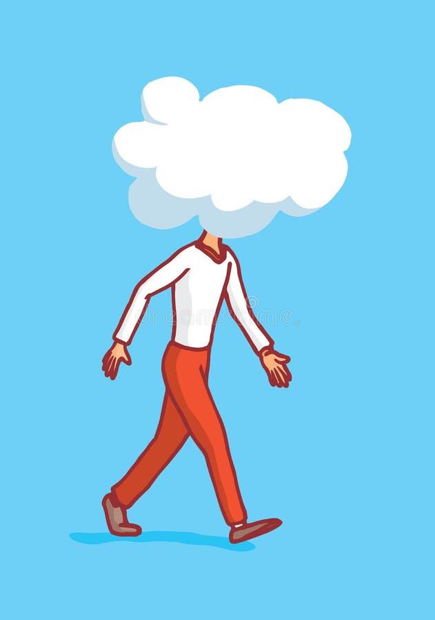 Mens die met wolk op zijn hoofd of betrokken gedachten lopen royalty-vrije illustratie