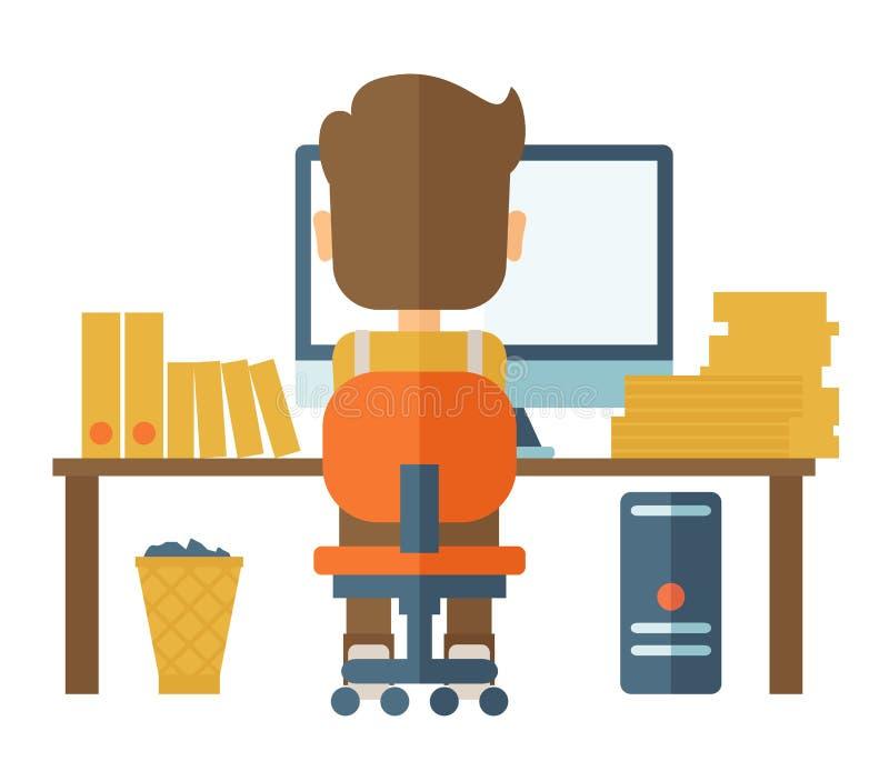 Mens die met zijn computer werken royalty-vrije illustratie