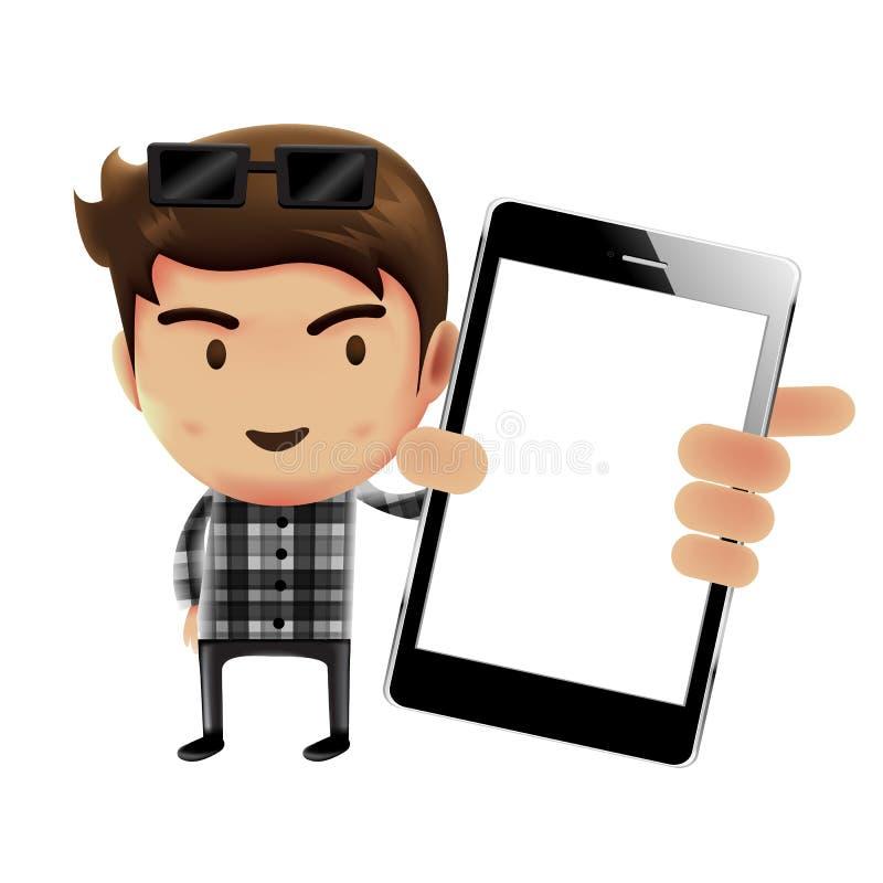 Mens die mobiele telefoon, Zakenman houden die, karakterontwerp werken stock illustratie