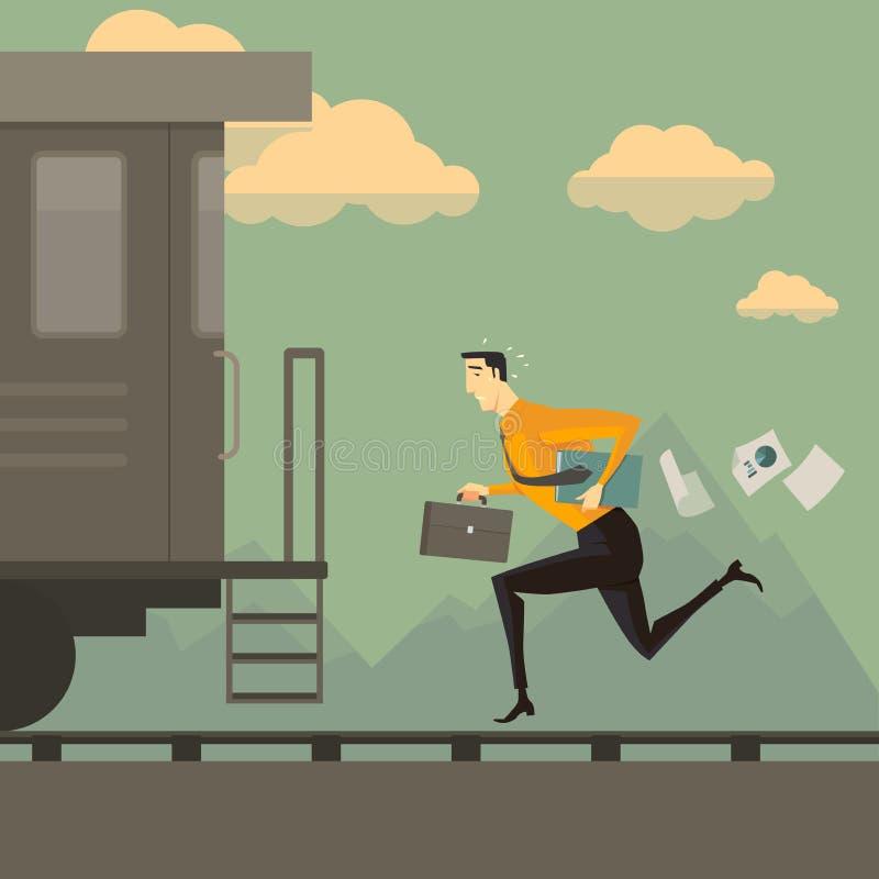 Mens die na de trein lopen stock illustratie