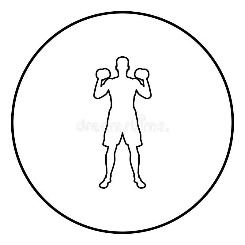Mens die oefeningen met van de de actie de mannelijke Training van de domorensport van het het silhouet vooraanzicht illustratie  vector illustratie