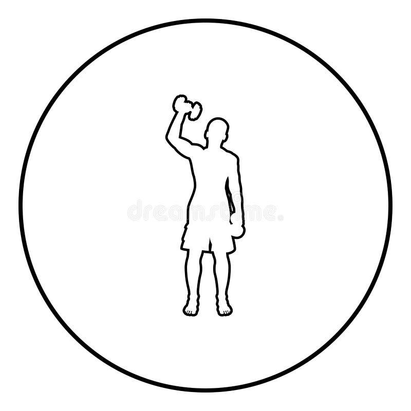 Mens die oefeningen met van de de actie de mannelijke Training van de domorensport van het het silhouet vooraanzicht illustratie  stock illustratie
