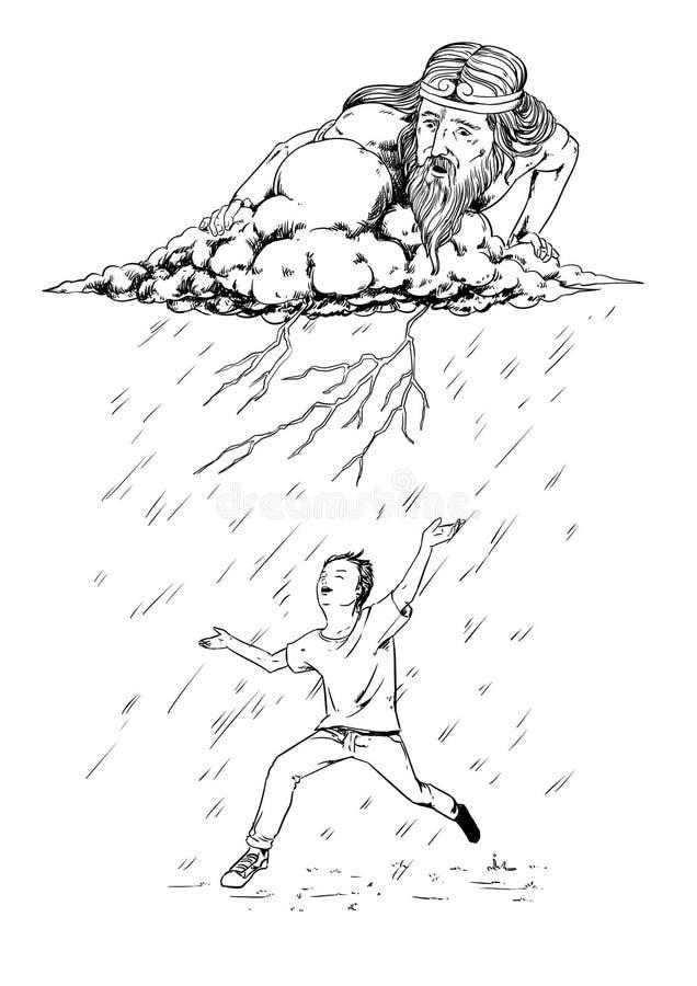 Mens die onder de regen dansen royalty-vrije illustratie