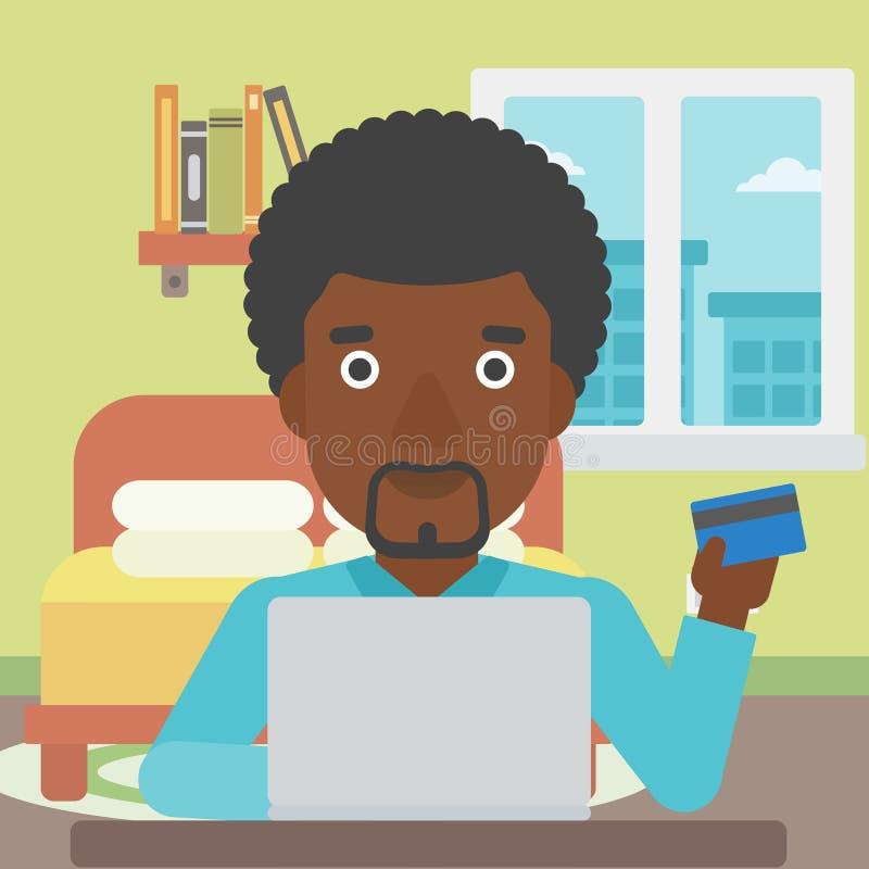 Mens die online gebruikend zijn laptop winkelen royalty-vrije illustratie