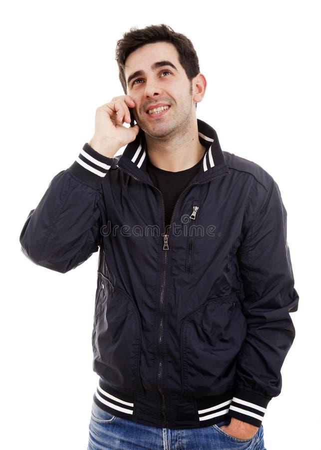 mens die op de telefoon spreken stock fotografie