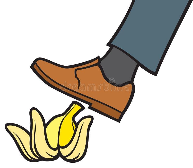 Mens die op een banaanschil uitglijden royalty-vrije illustratie