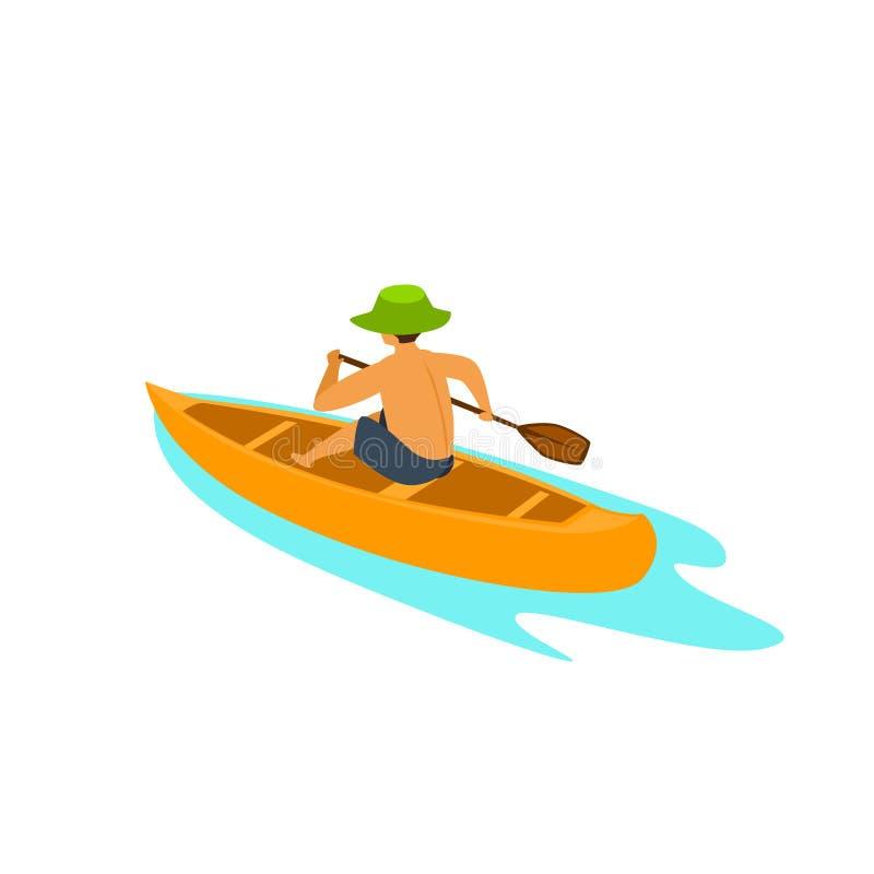 Mens die op een vector van de kanoboot paddelen stock illustratie