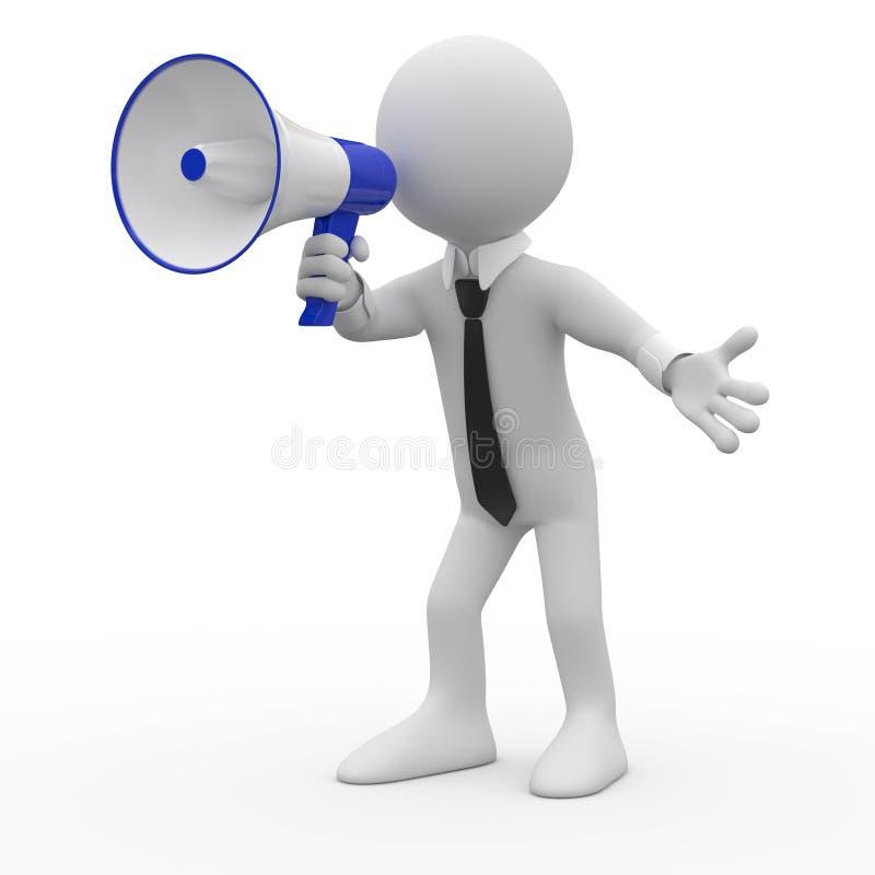 Mens die op een witte en blauwe megafoon spreken stock illustratie