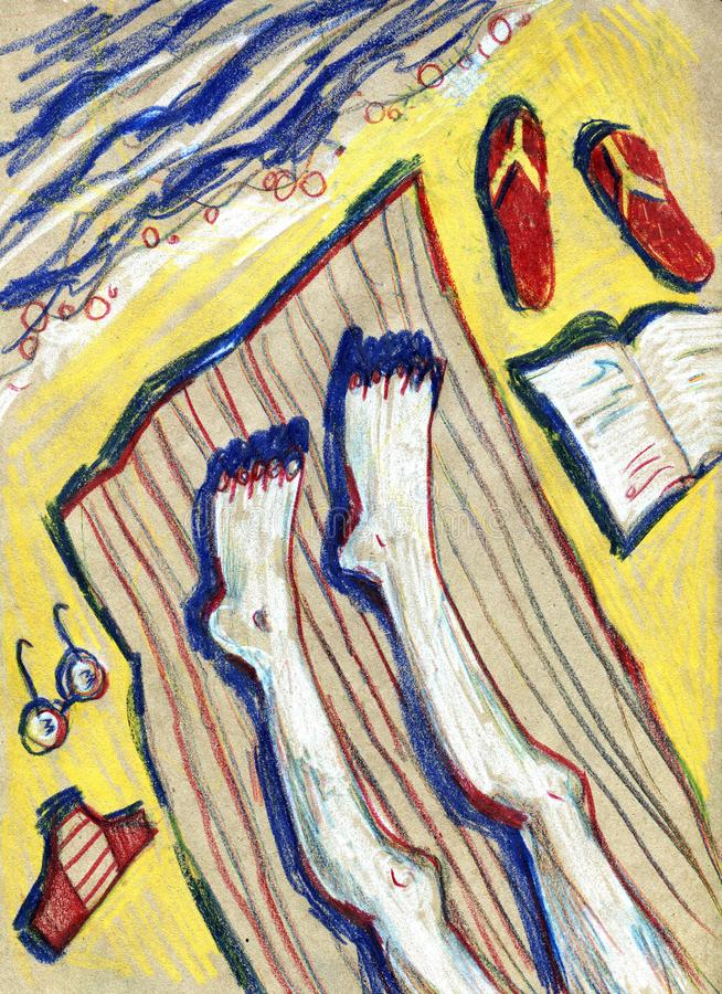 Mens die op een zonlanterfanter door het overzees liggen - het concept van de Strandvakantie Hand - trek illustratie royalty-vrije illustratie