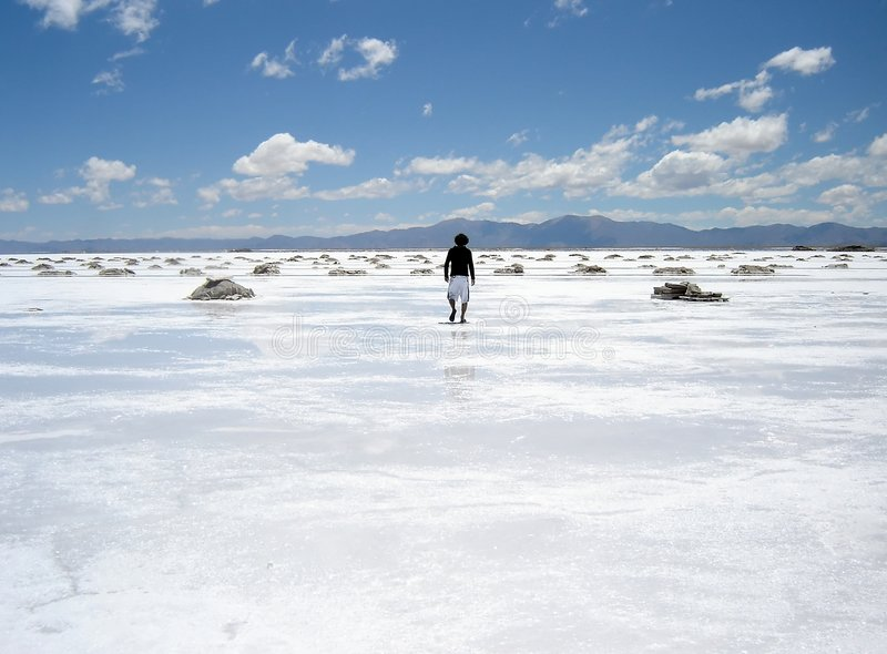 Mens die op een zout gebied loopt stock afbeeldingen