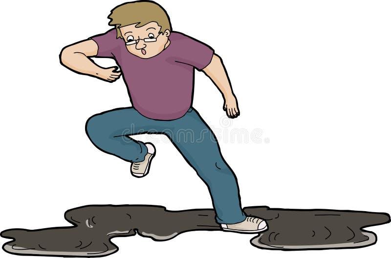 Mens die op Olie uitglijden vector illustratie