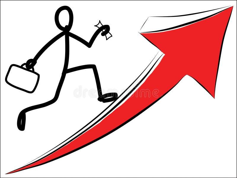 Mens die op rode pijlvector lopen stock illustratie