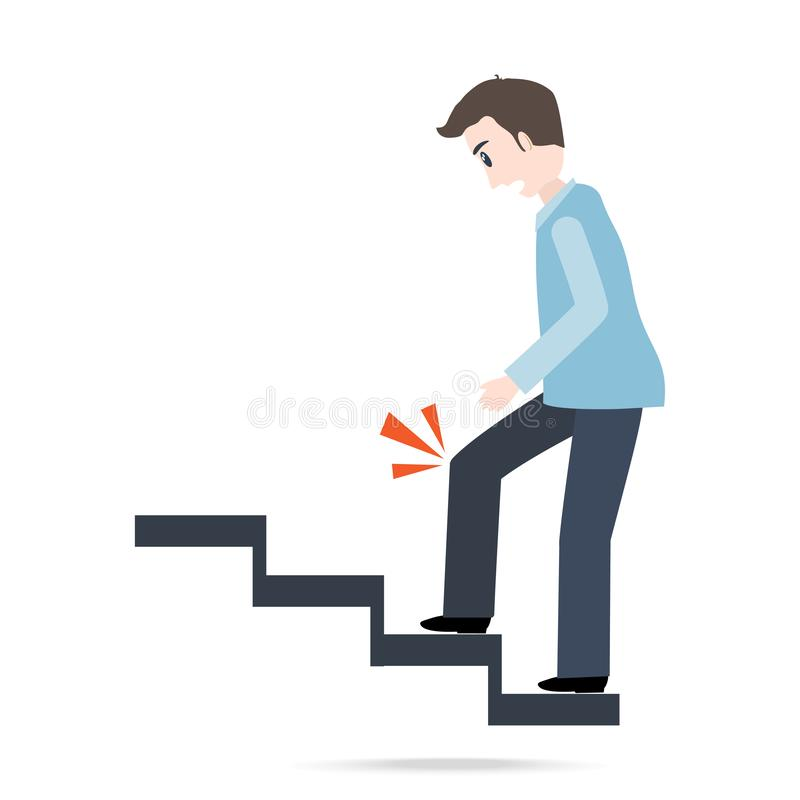 Mens die op treden en verwonding van de knie lopen het pictogram van de persoonsverwonding vector illustratie