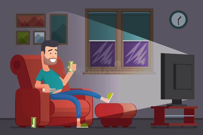 Mens die op TV letten en de vectorillustratie van het bierbeeldverhaal drinken stock illustratie
