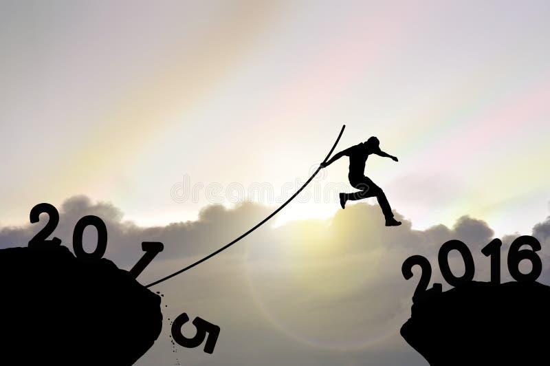 Mens die over afgrond, ver in afstand met polsstokspringen springen stock afbeelding