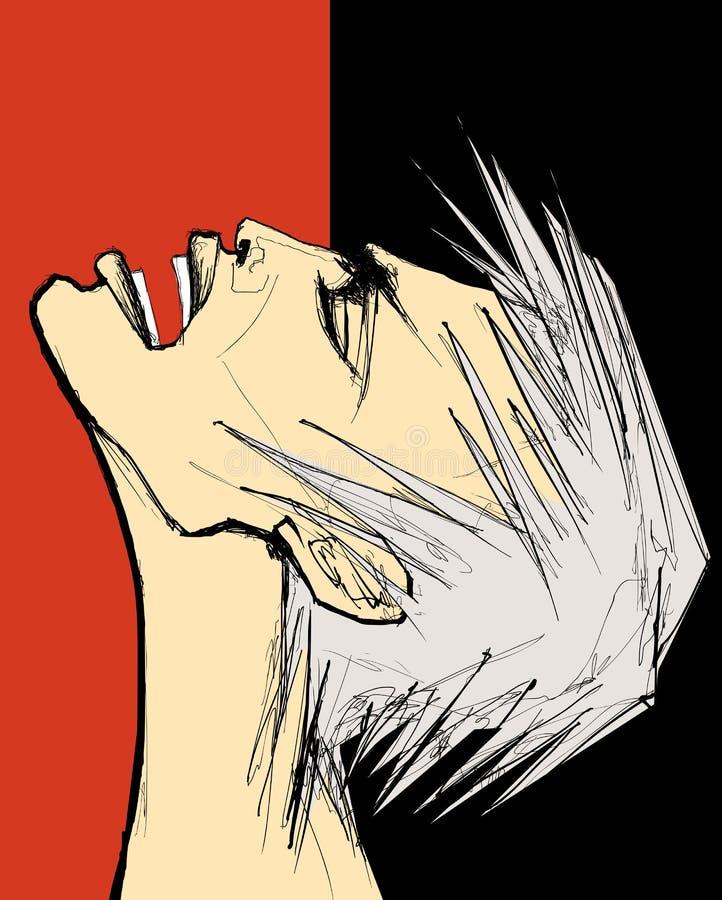 Mens die in pijn of woede schreeuwt royalty-vrije illustratie