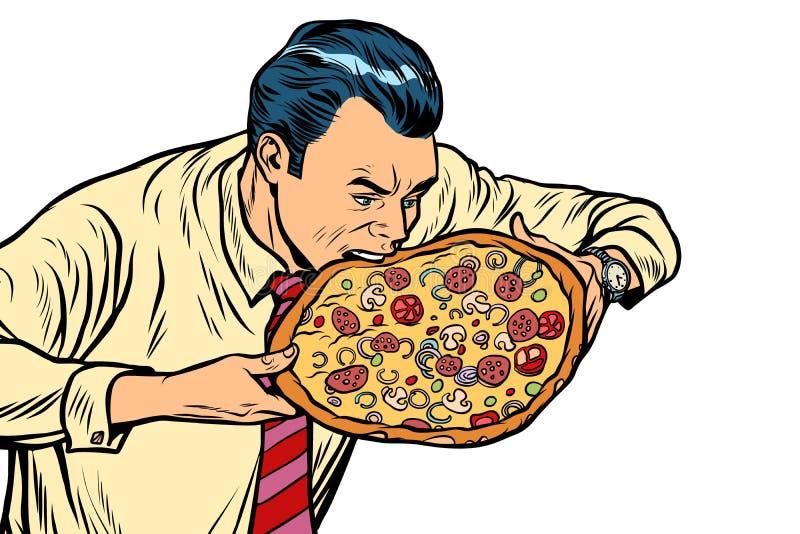 Mens die pizza, op witte achtergrond eten vector illustratie