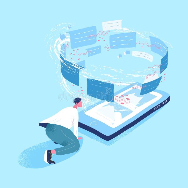 Mens die reuzesmartphone en draaikolk van berichten bekijken Concept informatiestroom, Internet-mededeling via vector illustratie