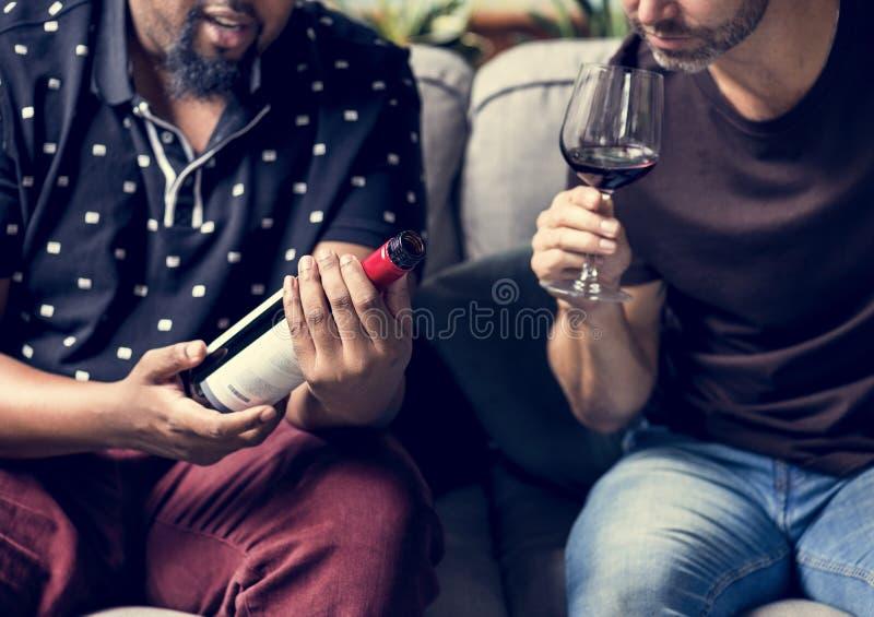 Mens die rode wijn met vrienden proeven royalty-vrije stock foto