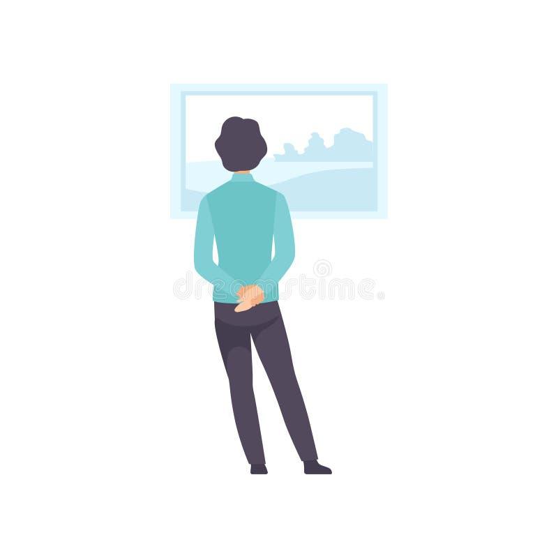 Mens die schilderen bekijken die op de muur, tentoonstellingsbezoeker het bekijken museumtentoongesteld voorwerp bij kunstgalerie stock illustratie