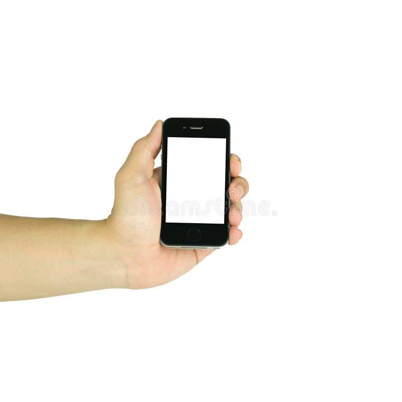 Mens die slimme telefoon houden aan iphone met het geïsoleerde scherm i gelijkaardig stock fotografie
