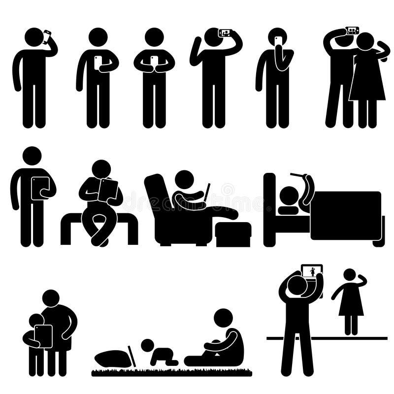 Mens die Smartphone en Tablet gebruikt vector illustratie