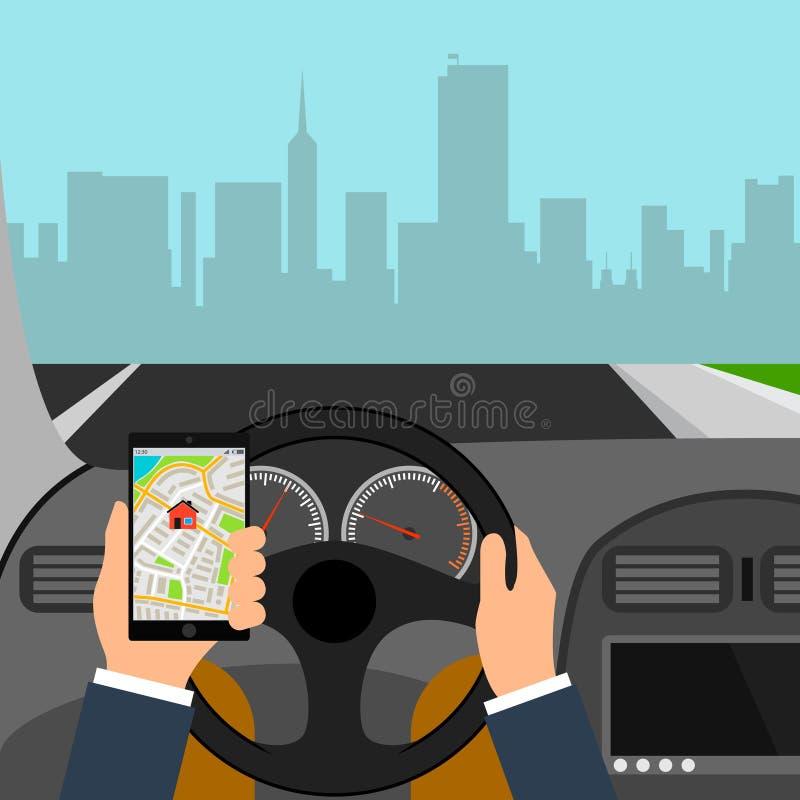 Mens die smartphone gebruiken terwijl het drijven van de auto, grafische het ontwerp conceptuele vectorillustratie van het verkee stock illustratie