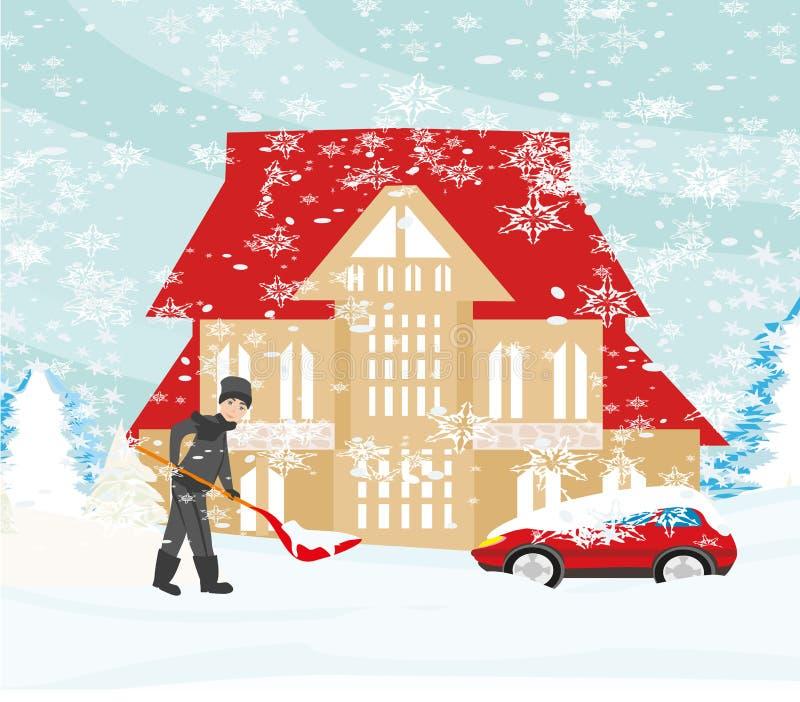 Mens die sneeuw op de winterlandschap scheppen vector illustratie