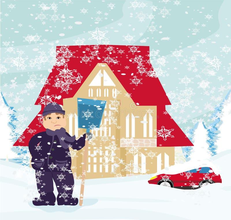 Mens die Sneeuw schept vector illustratie