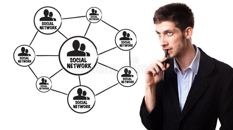 Mens die sociaal netwerkschema analyseert royalty-vrije stock fotografie